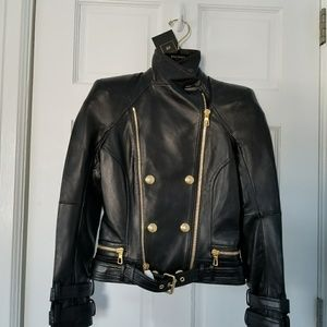 NWT Balmain H&M Leather Biker Moto Jacket 4US